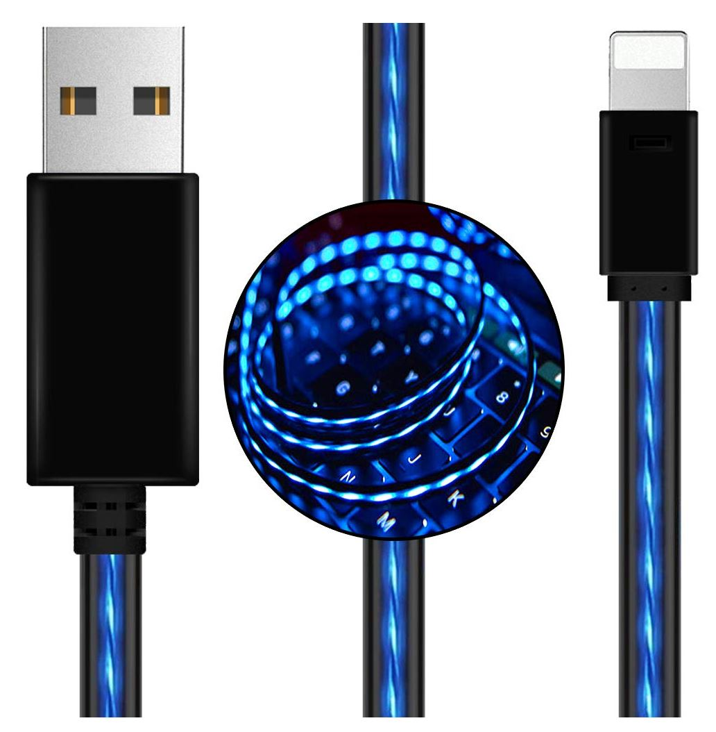 Astrotek 1m LED Light Up Visible Flowing USB Lightning Data Sync Charger Cable Blue Charging Cord for iPhone 5 6 7 8 Plus Mobile Phone