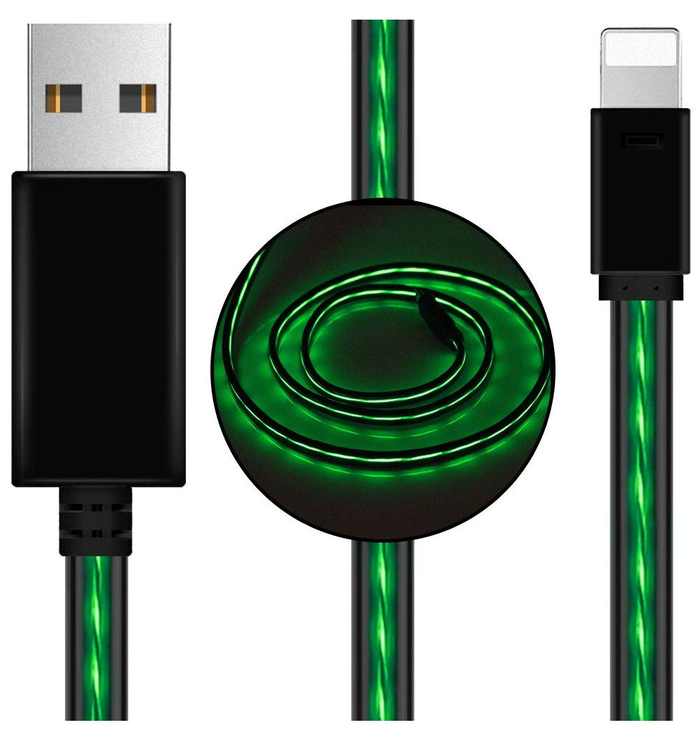 Astrotek 1m LED Light Up Visible Flowing USB Lightning Data Sync Charger Cable Green Charging Cord for iPhone 5 6 7 8 Plus Mobile Phone