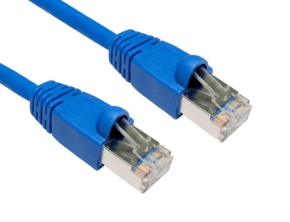 Hypertec CAT6A Shielded Cable 15m Blue Color 10GbE RJ45 Ethernet Network LAN S/FTP LSZH Cord 26AWG PVC Jacket