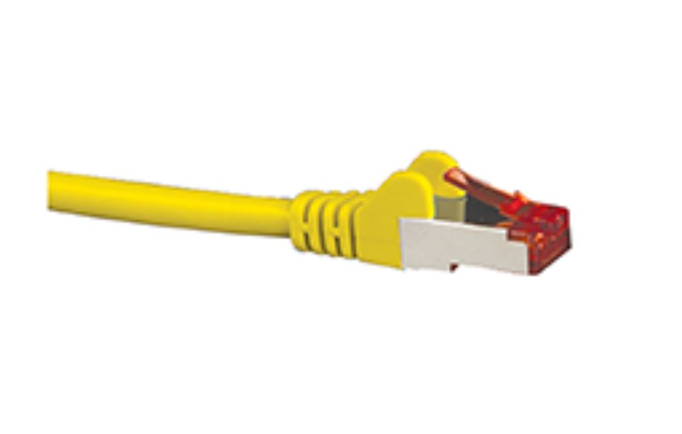 Hypertec CAT6A Shielded Cable 1m Yellow Color 10GbE RJ45 Ethernet Network LAN S/FTP Copper Cord 26AWG LSZH Jacket