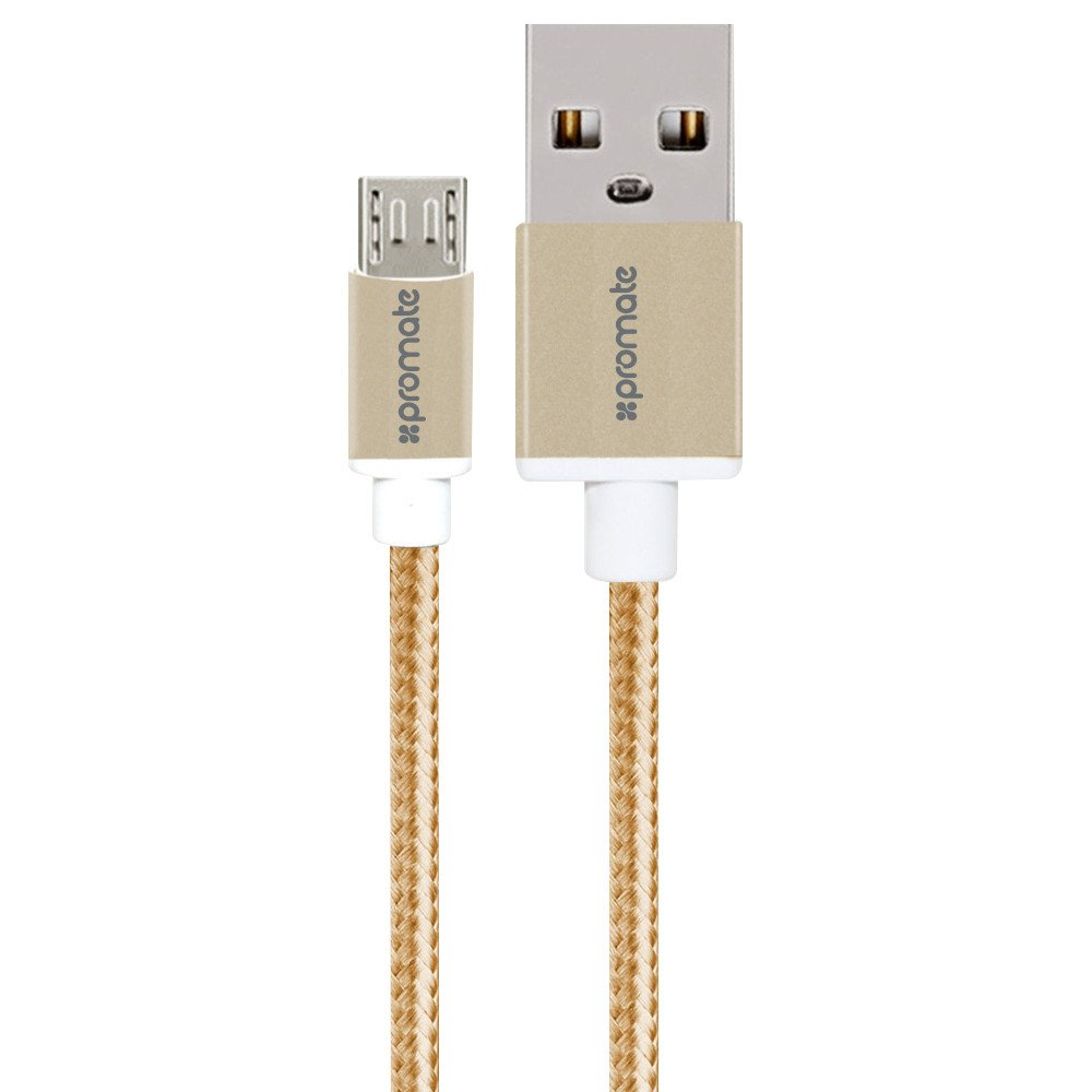 Promate 'linkMate-U2M' Ultra-Durable Mesh Braided Micro-USB Sync  Charge Cable, 120cm , Gold