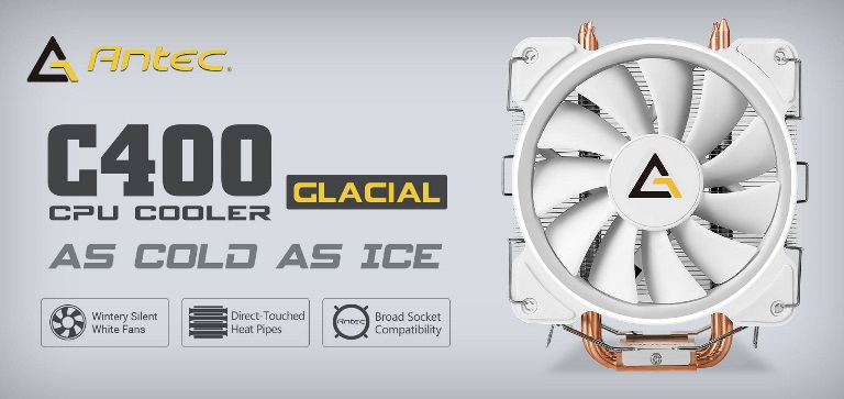 Antec C400 GLACIAL White Air CPU Cooler 12CM PWM 77 CFM Fan, 8mm Copper Base. 115X, 2011, 2066,, AM3, AM3+, FM1, FM2, FM2+ 3 Years Warranty