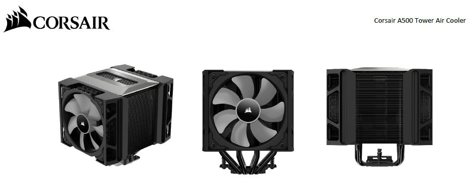 Corsair A500 Tower Dual Fan Air CPU Cooler. ML120 PWM Fan x 2.  Intel LGA 1200/1150/1151/1155/1156 / 2011/2011-3/2066 AMD AM4/AM3/FM2/FM1