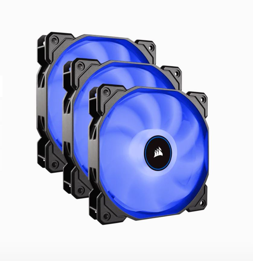 Corsair Air Flow 120mm Fan Low Noise Edition / Blue LED 3 PIN - Hydraulic Bearing, 1.43mm H2O. Superior cooling performance. Three Pack!