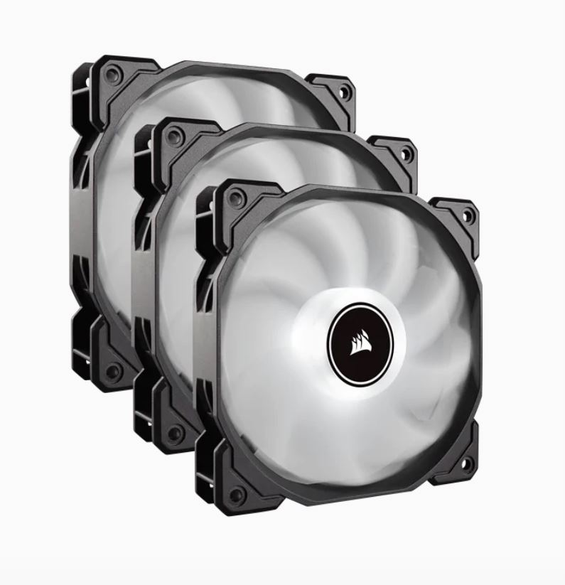Corsair Air Flow 120mm Fan Low Noise Edition / White LED 3 PIN - Hydraulic Bearing, 1.43mm H2O. Superior cooling performance. Three Pack!