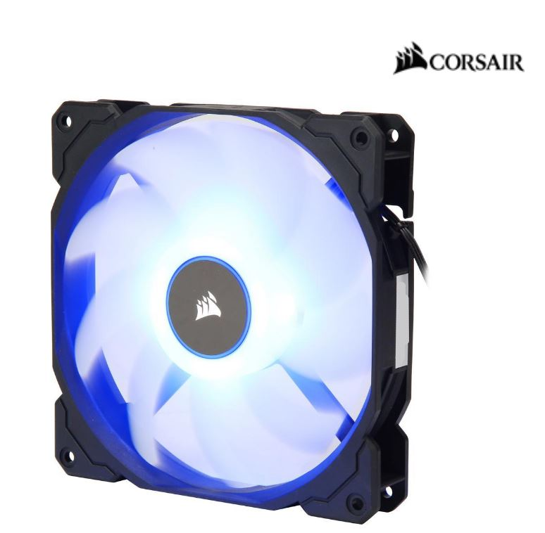 Corsair Air Flow 140mm Fan Low Noise Edition / Blue LED 3 PIN - Hydraulic Bearing, 1.43mm H2O. Superior cooling performance and LED illumination