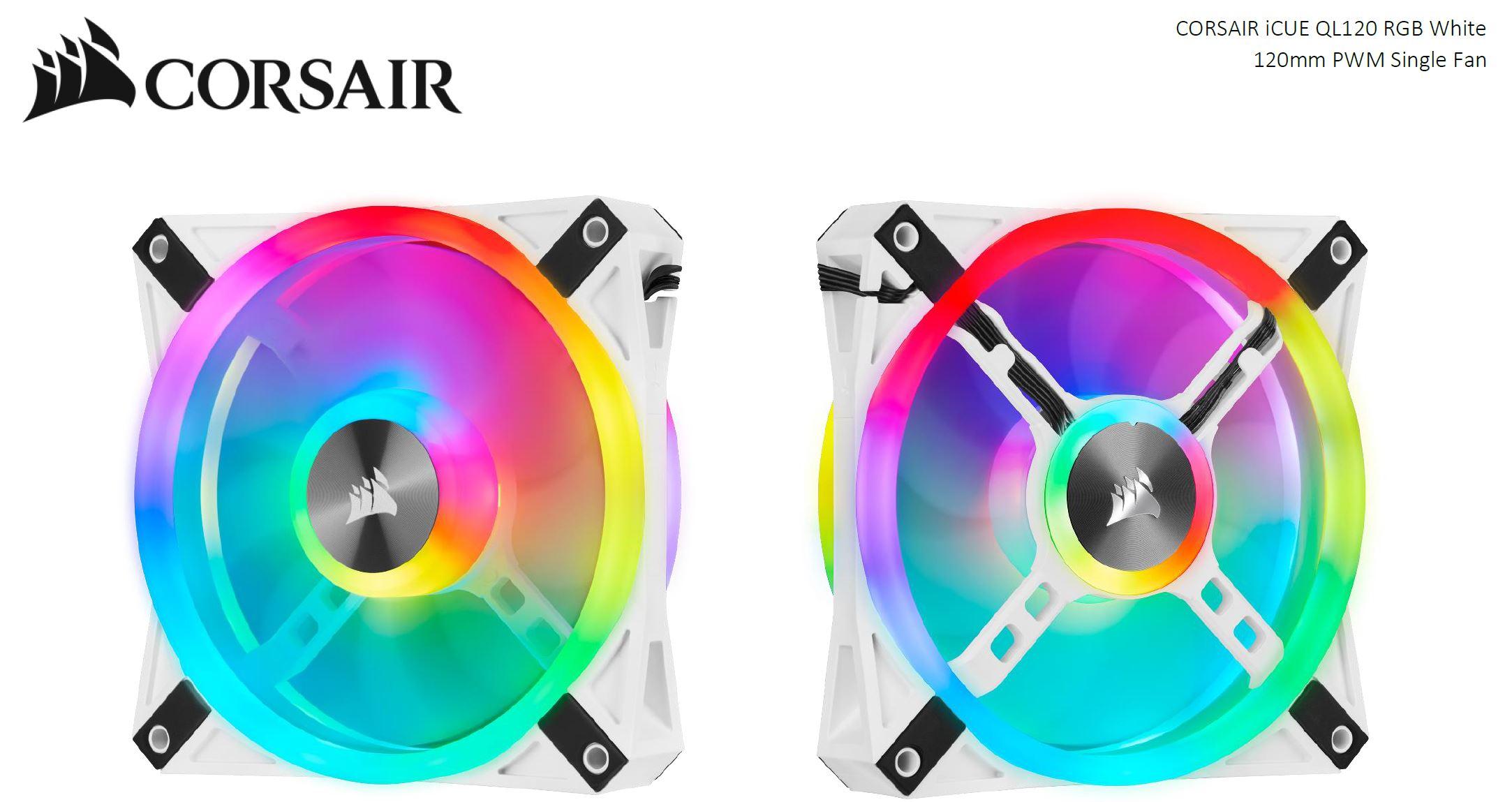 Corsair QL120 RGB White, ICUE, 120mm RGB LED PWM Fan 26dBA, 41.8 CFM, Single Pack
