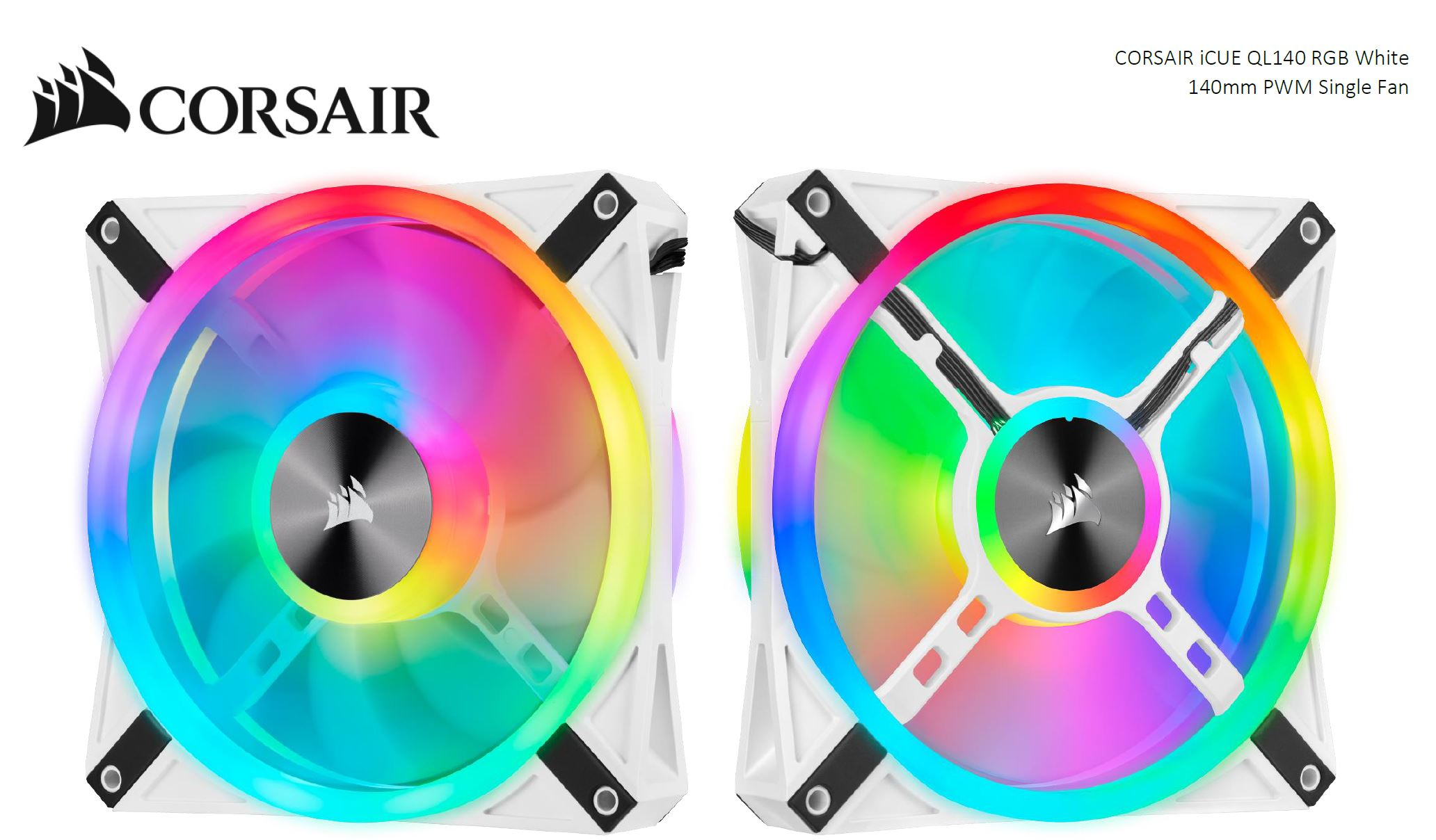 Corsair QL140 RGB White, ICUE, 140mm RGB LED PWM Fan 26dBA, 50.2 CFM, Single Pack
