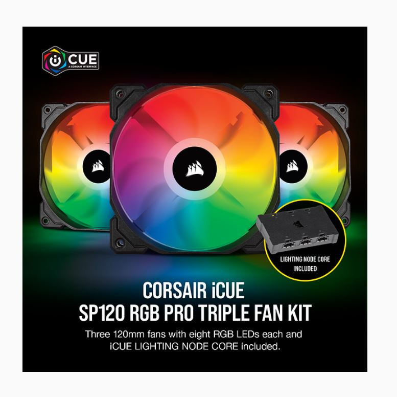 Corsair SP 120mm Fan RGB PRO Triple Pack with Lighting Node Core, iCUE Software