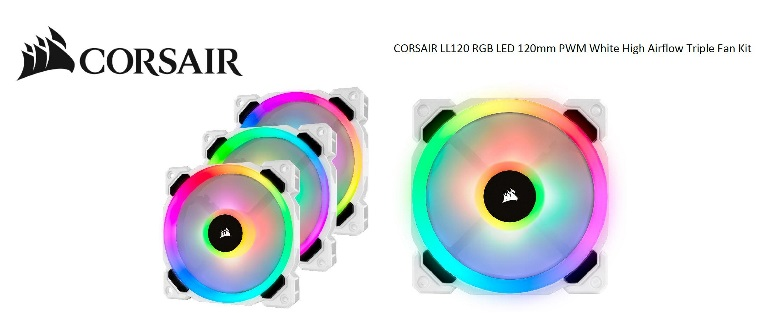Corsair Light Loop Series, White LL120 RGB, 120mm PWM Fan, 3 Fan Pack with Lighting Node PRO. Two Years Warranty