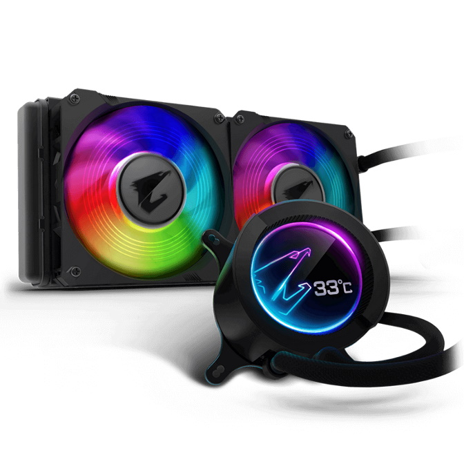 Gigabyte AORUS AIO Liquid Cooler 240 Radiator Waterblock Dual 120mm ARGB Fan Circular LCD Display Pump Control Intel 2066 1151 AMD TRX40 TR4 AM4