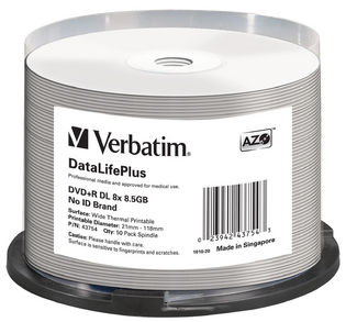 Verbatim DVD+RDL 8.5GB 50PK Wide Thermal Print 8X