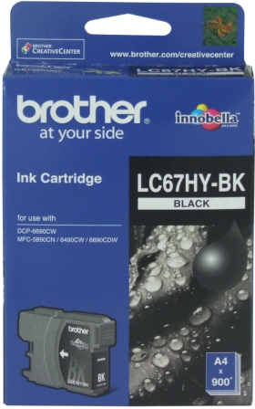 Brother LC-67HYBK Black High Yield Ink Cartridge -DCP-6690CW, MFC-5890CN/6490CW/6890CDW - up to 900 pages