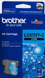 Brother LC-67HYC Cyan High Yield Ink Cartridge- DCP-6690CW, MFC-5890CN/6490CW/6890CDW - up to 750 pages