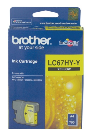 Brother LC-67HYY Yellow High Yield Ink Cartridge- DCP-6690CW, MFC-5890CN/6490CW/6890CDW - up to 750 pages