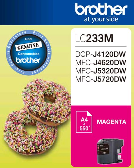 Brother LC233MS Megenta Ink Cartridge - DCP-J4120DW/MFC-J4620DW/J5320DW/J5720DW - up to 550 pages