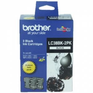 Brother LC-38BK Black Ink Cartridge Twin Pack - DCP-145C/165C/195C/375CW, MFC-250C/255CW/257CW/290C/295CN- up to 300 pages