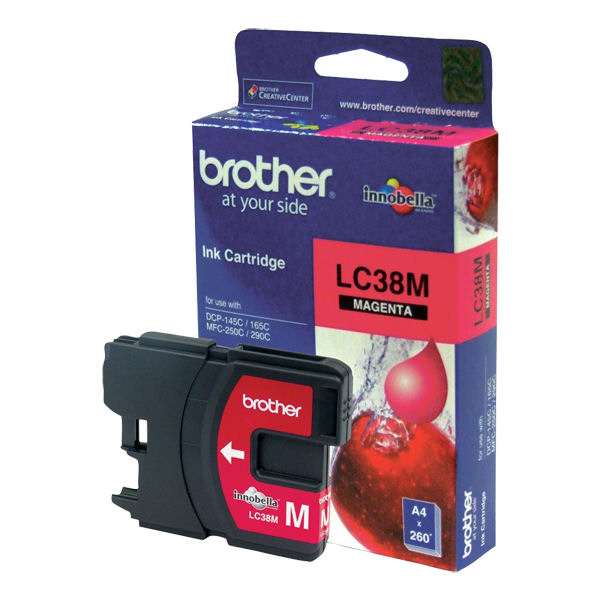 Brother LC-38M Magenta Ink Cartridge- to suit DCP-145C/165C/195C/375CW, MFC-250C/255CW/257CW/290C/295CN- uo to 260 pages