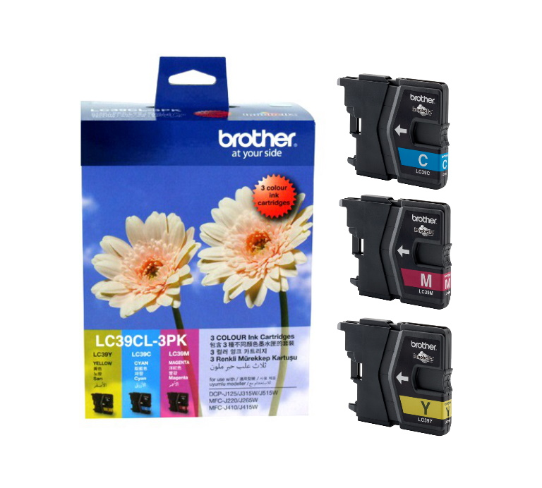 Brother LC-39 Colour Value Pack 1 x Cyan, 1 x Magenta, 1 x Yellow