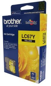 Brother LC-67Y Yellow Ink Cartridge- to suit DCP-385C/395CN/585CW/6690CW/J715W, MFC-490CW/5490CN/5890CN/6490CW/6890CDW/790CW/795CW/990CW- up to 325 pa