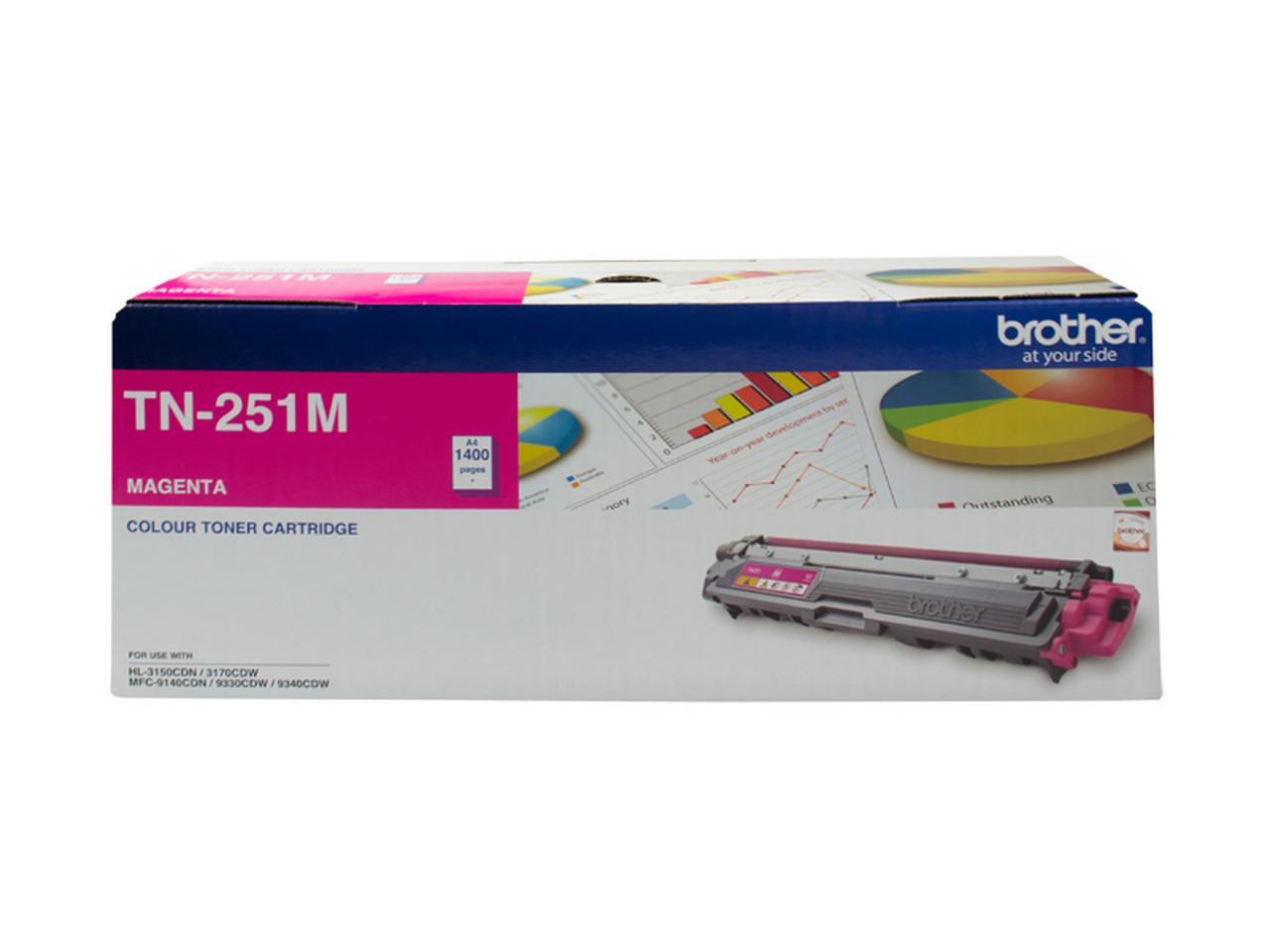 Brother TN-251M Colour Laser Toner-Magenta, HL-3150CDN/3170CDW/MFC-9140CDN/9330CDW/9335CDW/9340CDW /DCP-9015CDW(1,400 Pages)