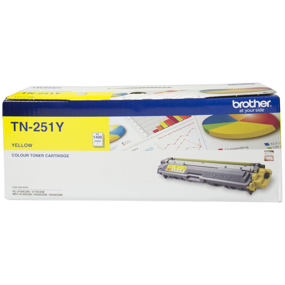 Brother TN-251Y Colour Laser Toner- Yellow, HL-3150CDN/3170CDW/MFC-9140CDN/9330CDW/9335CDW/9340CDW /DCP-9015CDW(1,400 Pages)