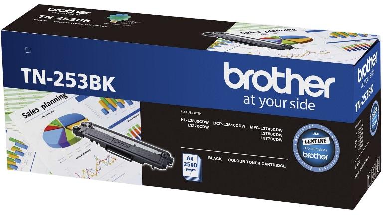 Brother TN-253BK Black Toner Cartridge to Suit -  HL-3230CDW/3270CDW/DCP-L3015CDW/MFC-L3745CDW/L3750CDW/L3770CDW (2,500 Pages)