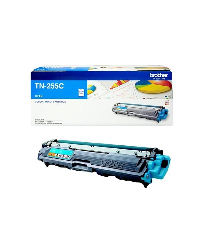 Brother TN-255C Colour Laser Toner- Cyan High Yield Cartridge-HL-3150CDN/3170CDW/MFC-9140CDN/9330CDW/9335CDW/9340CDW /DCP-9015CDW(2,200 Page