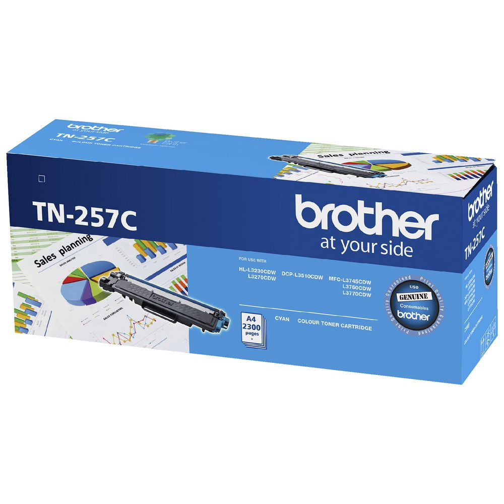 Brother TN-257C  Cyan High Yield Toner Cartridge to Suit -  HL-3230CDW/3270CDW/DCP-L3015CDW/MFC-L3745CDW/L3750CDW/L3770CDW (2,300 Pages)
