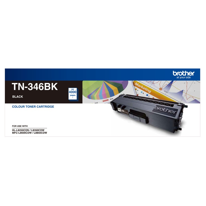 Brother TN-346BK High Yield Black Toner, HL-L8250CDN/8350CDW MFC-L8600CDW/L8850CDW - 4000Pages