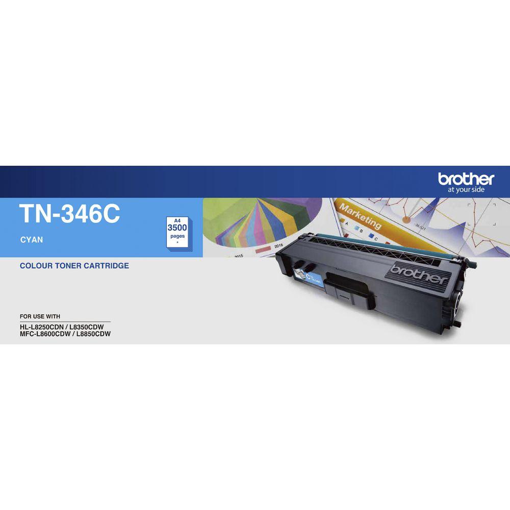 Brother TN-346C Colour Laser Toner- High Yield Cyan- HL-L8250CDN/8350CDW MFC-L8600CDW/L8850CDW - 3500Pages