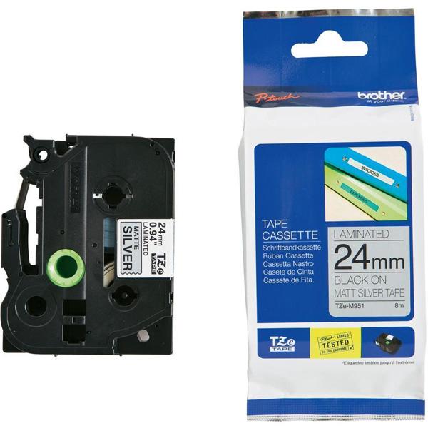 Brother 24mm Black on Silver MATT TZE Tape