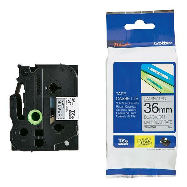 Brother 36mm Black on Silver MATT TZE Tape