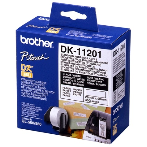 WHITE STANDARD ADDRESS LABELS, 29MM X 90MM 400 LABELS PER ROLL Brother White Standa