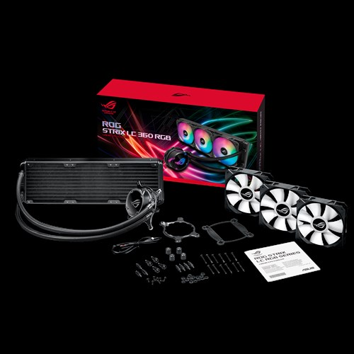 ASUS ROG Strix LC 360 RGB ALL-IN-ONE Liquid CPU Cooler, Aura Sync, Triple ROG 120mm Addressable RGB Radiator Fans