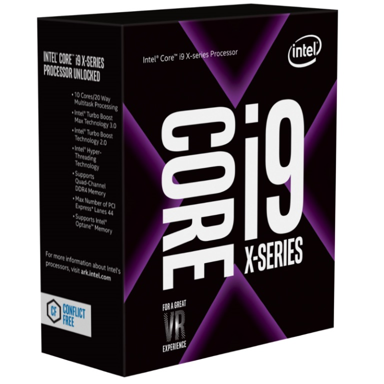 Intel Core X i9-7900X 3.3Ghz Skylake-X 10-Core s2066 13.75MB Cache 140W No Fan Unlocked X299 MB required Retail Boxed 3 Years Warranty