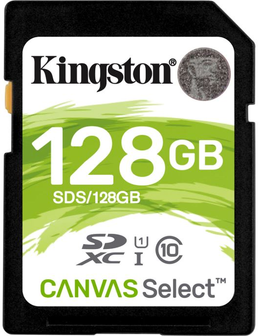 Kingston 128GB SD Card SDHC/SDXC Class10 UHS-I Flash Memory 80MB/s Read 10MB/s Write Full HD for Photo Video Camera Waterproof Shock Proof