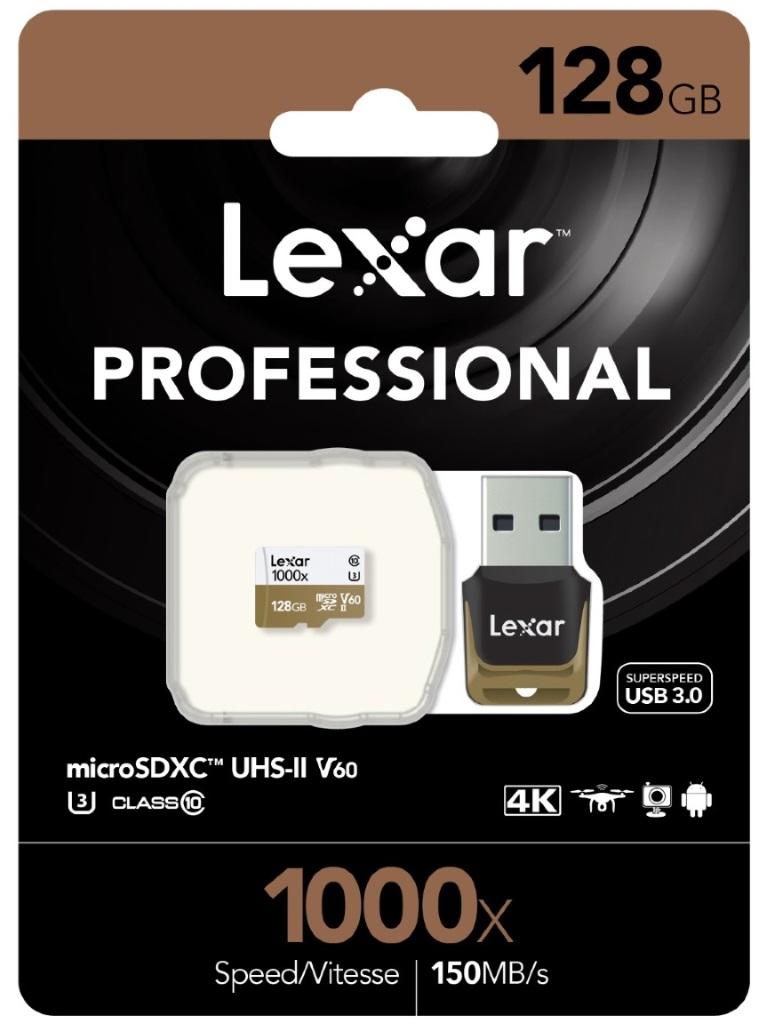 Lexar Professional 1000x 128GB microSDXC UHS-II Card - Upto 150MB/s U3 C10 V60