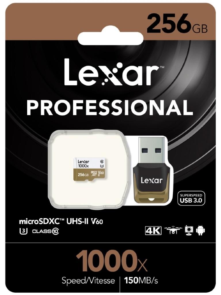 Lexar Professional 1000x 256GB microSDXC UHS-II Card - Upto 150MB/s U3 C10 V60