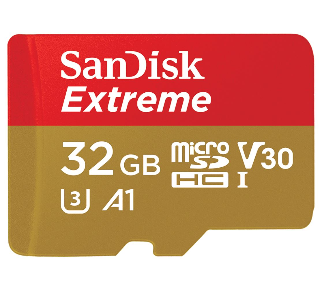 SanDisk 32GB Extreme microSD SDHC SQXAF V30 U3 C10 A1 UHS-1 100MB/s R 60MB/s W 4x6 SD Adaptor Android Smartphone Action Camera Drones
