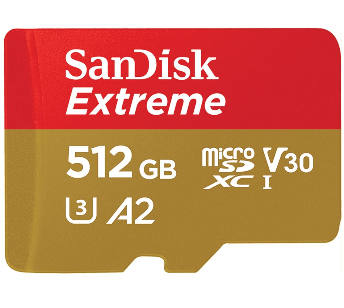 SanDisk 512GB Extreme microSD SDHC SQXAF V30 U3 C10 A1 UHS-1 160MB/s R 90MB/s W 4x6 SD Adaptor Android Smartphone Action Camera Drones
