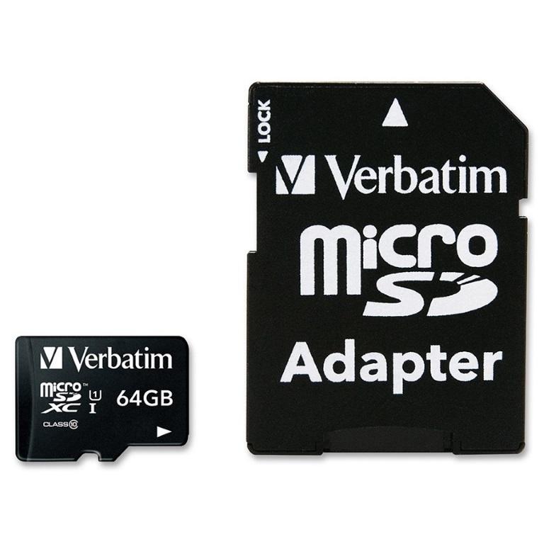 Verbatim 64GB Micro SDXC Card Class 10 UHS-I With Adaptor Up to 45MB/Sec 300X read speed(LS)