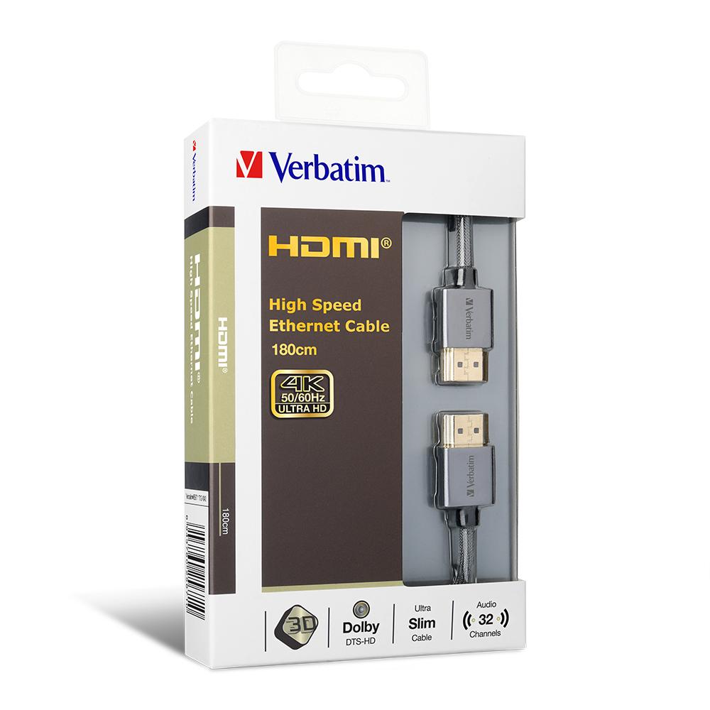 Verbatim HDMI Cable with Ethernet V2.0 Extra Slim 180cm