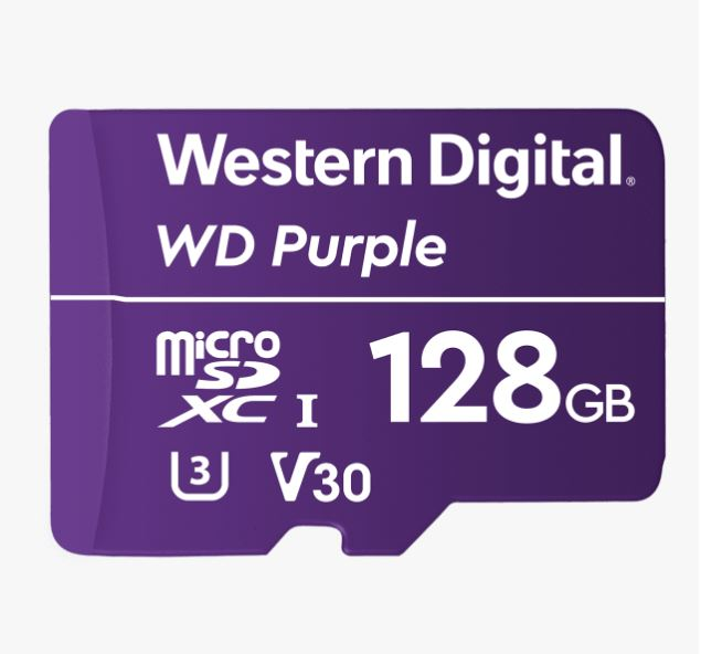 Western Digital WD Purple 128GB MicroSDXC Card 24/7 -25°C to 85°C Weather  Humidity Resistant for Surveillance IP Cameras mDVRs NVR Dash Cams Drones
