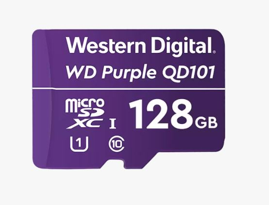 Western Digital WD Purple 128GB MicroSDXC Card 24/7 -25°C to 85°C Weather Humidity Resistant for Surveillance IP Cameras mDVRs NVR Dash ~WDD128G1P0A