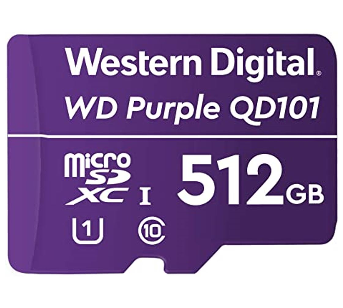 Western Digital WD Purple 512GB MicroSDXC Card 24/7 -25°C to 85°C Weather  Humidity Resistant for Surveillance IP Cameras mDVRs NVR Dash Cams Drones