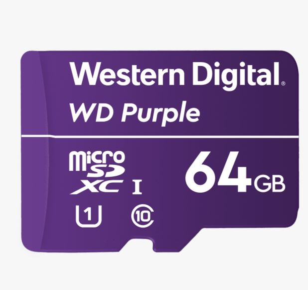 Western Digital WD Purple 64GB MicroSDXC Card 24/7 -25°C to 85°C Weather  Humidity Resistant for Surveillance IP Cameras mDVRs NVR Dash Cams Drones