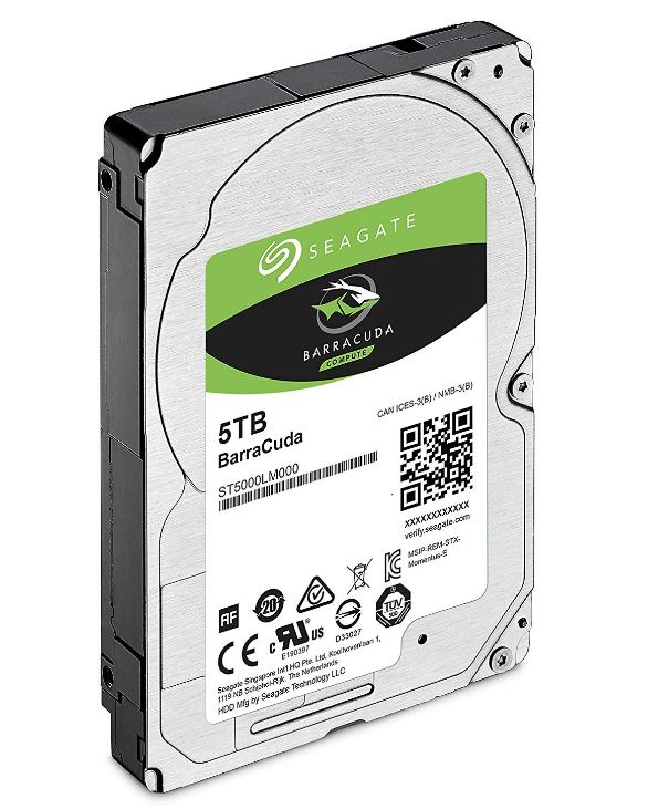 Seagate 5TB 2.5' Barracuda, 5400RPM 15mm 128MB cache Notebook / Laptops HDD (ST5000LM000) 2 Years Warranty