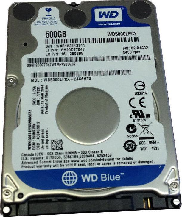 WD Blue 500GB SATA3 7mm 2.5' 5400RPM 6Gb/s 16MB Cache