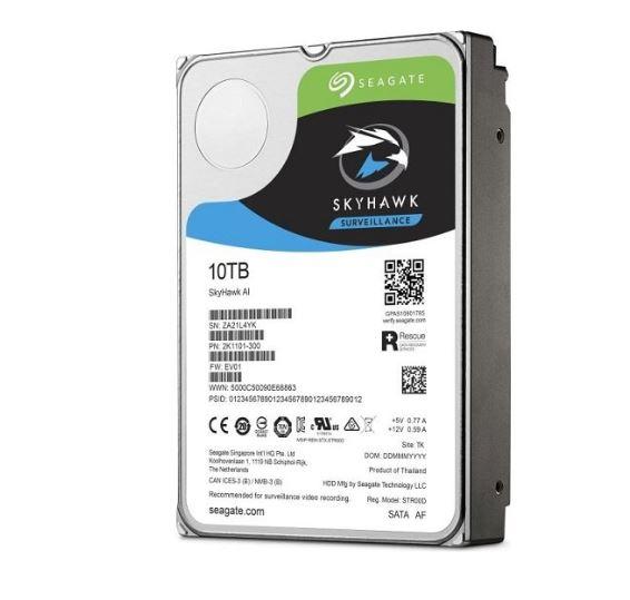 Seagate 10TB 3.5' SkyHawk Surveillance AI, SATA3 6Gb/s 256MB Cache 24x7 HDD ST10000VE0008,  5 Years Warranty